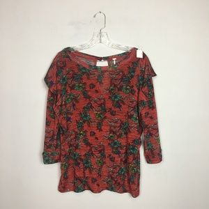 Free People red floral printed blouse keyhole back